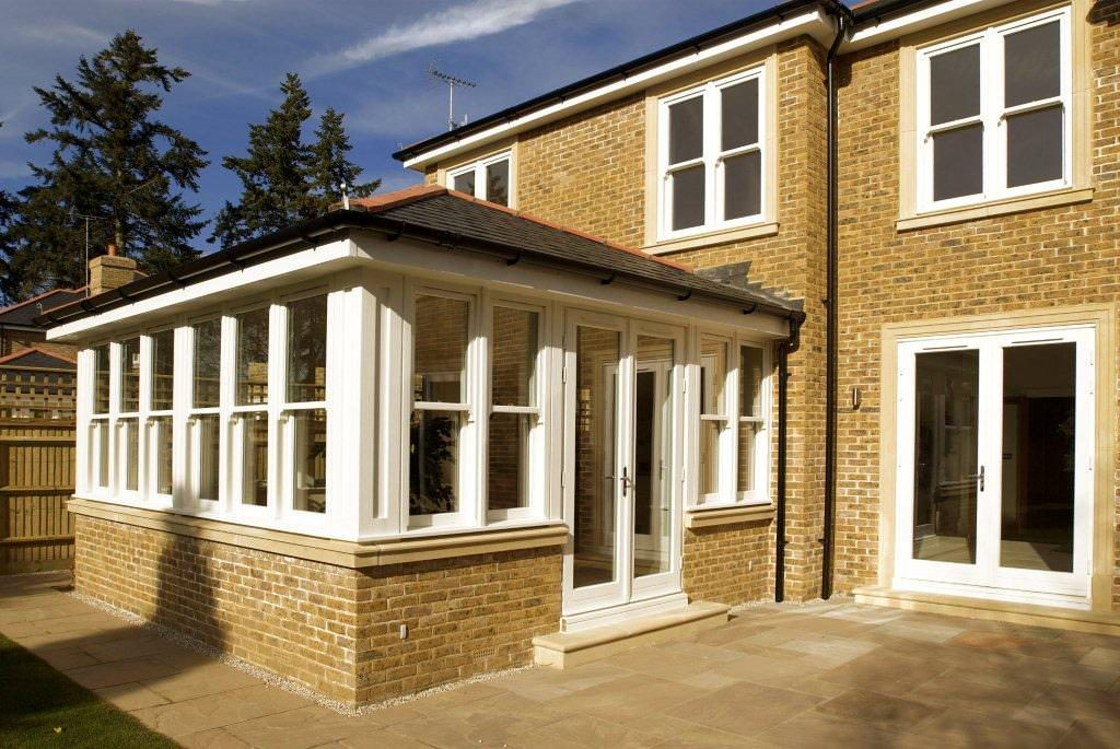 White uPVC Orangery with a tiled roof