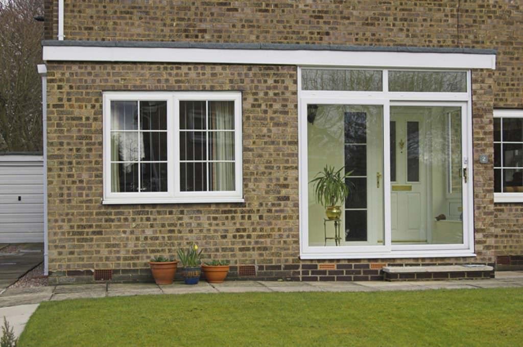 Large white sliding patio doors